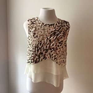Leopard print blouse top by Bebe- fits sizes 2-4